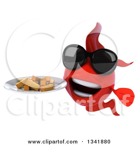 Clipart of a 3d Red Fish Wearing Sunglasses and Holding a Plate of French Fries - Royalty Free Illustration by Julos