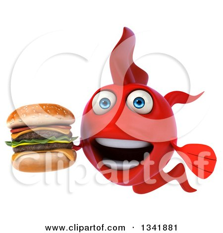 Clipart of a 3d Red Fish Holding a Double Cheeseburger - Royalty Free Illustration by Julos