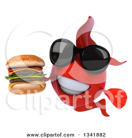 Clipart of a 3d Red Fish Wearing Sunglasses and Holding a Double Cheeseburger - Royalty Free Illustration by Julos