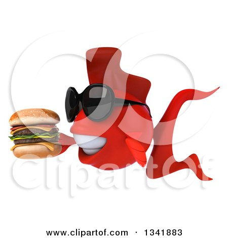 Clipart of a 3d Red Fish Wearing Sunglasses, Facing Left and Holding a Double Cheeseburger - Royalty Free Illustration by Julos