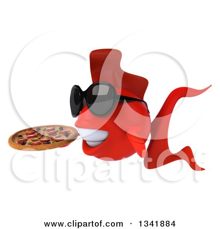 Clipart of a 3d Red Fish Wearing Sunglasses, Facing Left and Holding a Pizza - Royalty Free Illustration by Julos