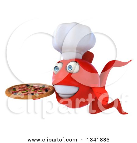Clipart of a 3d Red Fish Chef Facing Slightly Left and Holding a Pizza - Royalty Free Illustration by Julos