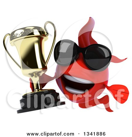 Clipart of a 3d Red Fish Wearing Sunglasses and Holding a Trophy - Royalty Free Illustration by Julos