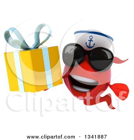 Clipart of a 3d Happy Red Sailor Fish Wearing Sunglasses and Holding a Gift - Royalty Free Illustration by Julos