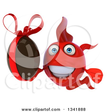Clipart of a 3d Red Fish Holding a Chocolate Easter Egg - Royalty Free Illustration by Julos