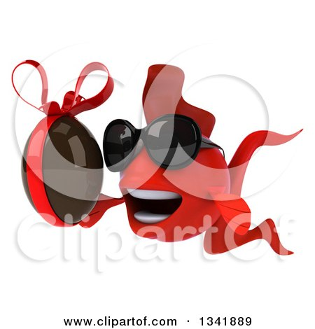 Clipart of a 3d Red Fish Wearing Sunglasses and Holding a Chocolate Easter Egg, Facing Slightly Left - Royalty Free Illustration by Julos