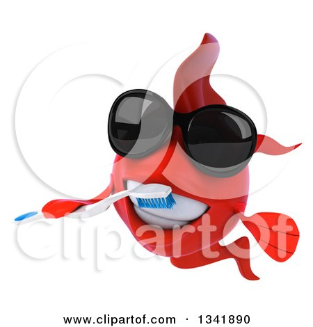 Clipart of a 3d Red Fish Wearing Sunglasses and Brushing His Teeth with a Toothbrush - Royalty Free Illustration by Julos