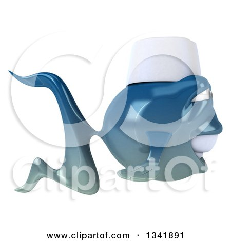 Clipart of a 3d Blue Sushi Fish Chef Facing Right - Royalty Free Illustration by Julos