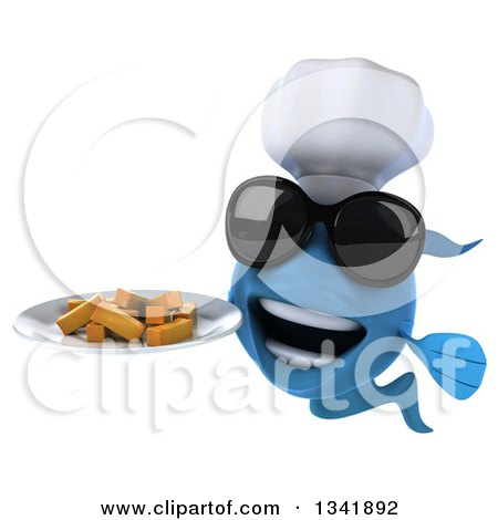 Clipart of a 3d Blue Fish Chef Wearing Sunglasses and Holding a Plate of Fries - Royalty Free Illustration by Julos