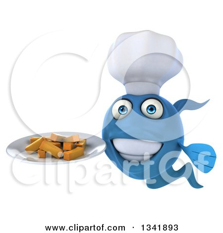 Clipart of a 3d Blue Fish Chef Holding a Plate of Fries - Royalty Free Illustration by Julos