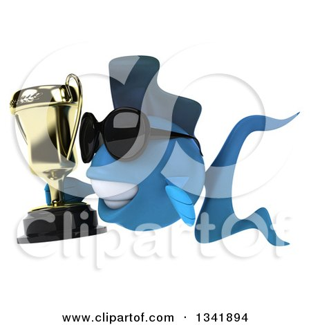 Clipart of a 3d Blue Fish Wearing Sunglasses, Holding a Trophy and Facing Left - Royalty Free Illustration by Julos