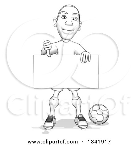 Clipart of a Grayscale Sketched Male Soccer Player Holding a Blank Sign and Giving a Thumb down - Royalty Free Illustration by Julos