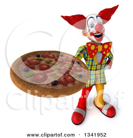 Clipart of a 3d Funky Clown Holding up a Pizza - Royalty Free Illustration by Julos