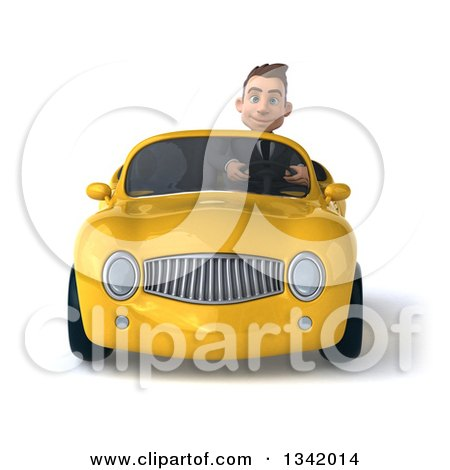 Clipart of a 3d Young White Businessman Driving a Yellow Convertible Car - Royalty Free Illustration by Julos