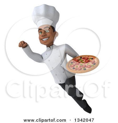 Clipart of a 3d Young Black Male Chef Holding a Pizza and Flying - Royalty Free Illustration by Julos