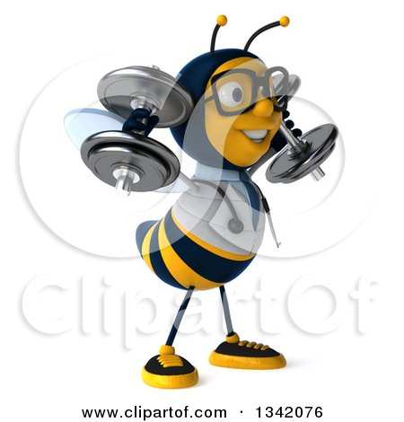 Clipart of a 3d Happy Bespectacled Bee Doctor Working Out, Facing Right and Doing Shoulder Presses with Dumbbells - Royalty Free Illustration by Julos