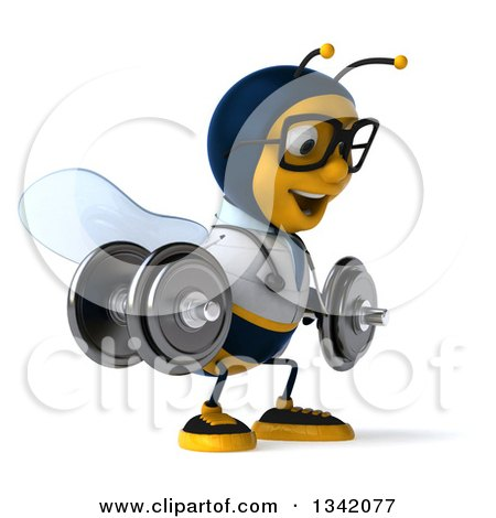 Clipart of a 3d Happy Bespectacled Bee Doctor Working Out, Facing Right and Doing Squats with Dumbbells - Royalty Free Illustration by Julos