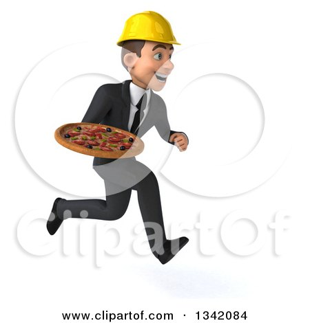 Clipart of a 3d Young White Male Architect Holding a Pizza and Sprinting to the Right - Royalty Free Illustration by Julos