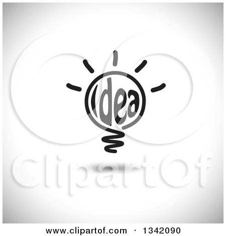 Clipart of a Black Idea Text Shining Light Bulb over Shading - Royalty Free Vector Illustration by ColorMagic