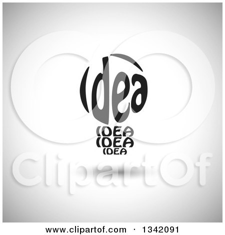 Clipart of a Black Idea Text Light Bulb over Shading - Royalty Free Vector Illustration by ColorMagic