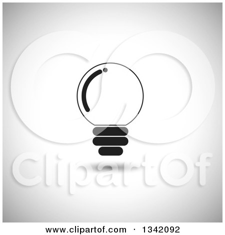 Clipart of a Round Black Light Bulb over Shading - Royalty Free Vector Illustration by ColorMagic