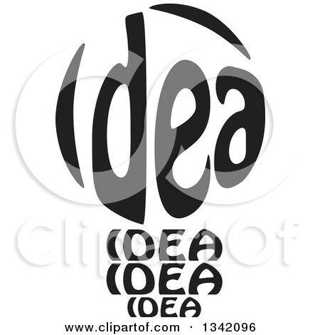 Clipart of a Black and White Idea Text Light Bulb - Royalty Free Vector Illustration by ColorMagic