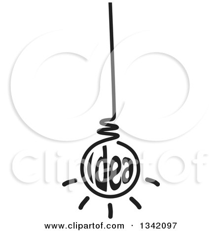 Clipart of a Black and White Suspended Idea Light Bulb - Royalty Free Vector Illustration by ColorMagic