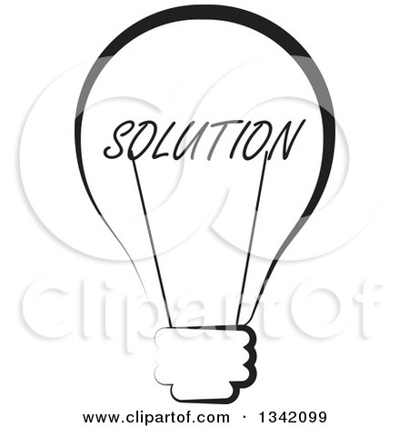 Clipart of a Black and White Solution Text Light Bulb - Royalty Free Vector Illustration by ColorMagic