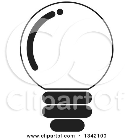 Clipart of a Black and White Light Bulb 2 - Royalty Free Vector Illustration by ColorMagic