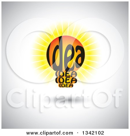 Clipart of a Shining Idea Text Light Bulb over Shading - Royalty Free Vector Illustration by ColorMagic