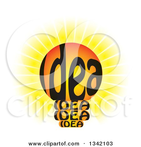 Clipart of a Shining Idea Text Light Bulb - Royalty Free Vector Illustration by ColorMagic