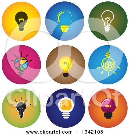 Clipart of Round Light Bulb Button App Icon Design Elements - Royalty Free Vector Illustration by ColorMagic