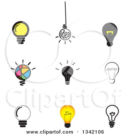 Clipart of Light Bulb Icons - Royalty Free Vector Illustration by ColorMagic