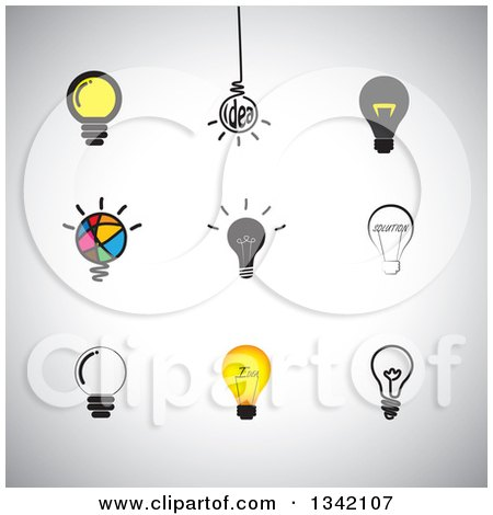 Clipart of Light Bulb Icons over Shading - Royalty Free Vector Illustration by ColorMagic