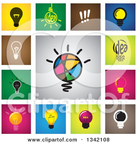 Clipart of Square Light Bulb Button App Icon Design Elements - Royalty Free Vector Illustration by ColorMagic