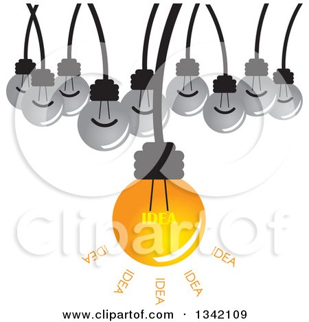 Clipart of a Suspended Idea Light Bulb and Plain Bulbs - Royalty Free Vector Illustration by ColorMagic