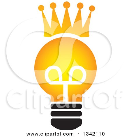 Clipart of a Crowned Light Bulb - Royalty Free Vector Illustration by ColorMagic