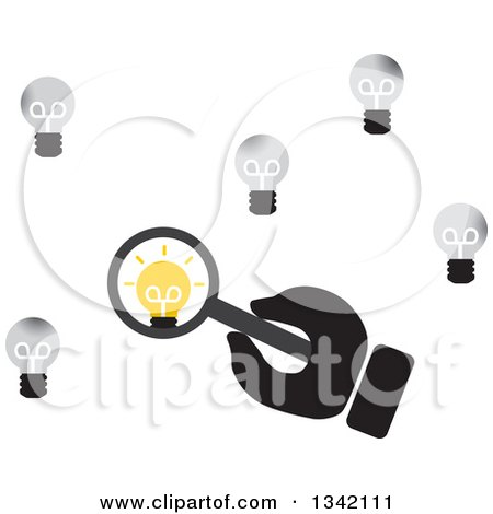 Clipart of a Hand Holding a Magnifying Glass over a Unique Light Bulb - Royalty Free Vector Illustration by ColorMagic