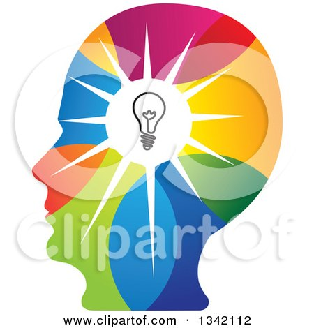 Clipart of a Colorful Human Head Silhouette with a Shining Light Bulb - Royalty Free Vector Illustration by ColorMagic