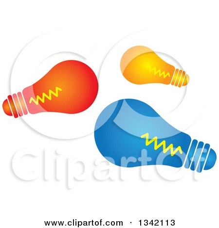 Clipart of Red Orange and Blue Light Bulbs - Royalty Free Vector Illustration by ColorMagic