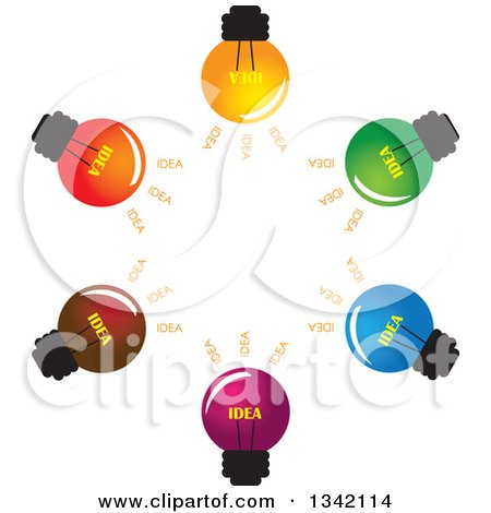 Clipart of a Brainstorm Circle of Colorful Idea Light Bulbs - Royalty Free Vector Illustration by ColorMagic