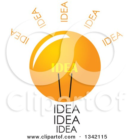 Clipart of a Light Bulb with Idea Text - Royalty Free Vector Illustration by ColorMagic