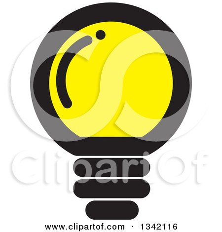 Clipart of a Round Black and Yellow Light Bulb - Royalty Free Vector Illustration by ColorMagic