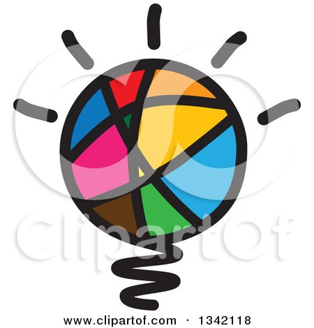 Clipart of a Colorful Abstract Sketched Shining Light Bulb - Royalty Free Vector Illustration by ColorMagic