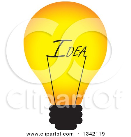 Clipart of a Light Bulb with an Idea Text Filament - Royalty Free Vector Illustration by ColorMagic