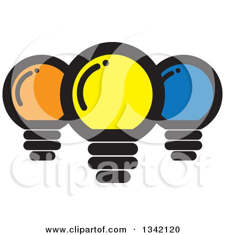 Clipart of Yellow Orange and Blue Light Bulbs - Royalty Free Vector Illustration by ColorMagic