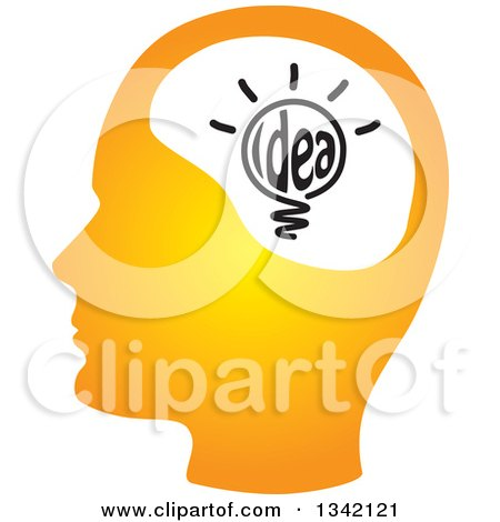 Clipart of a Gradient Orange Human Head Silhouette with a Shining Light Bulb - Royalty Free Vector Illustration by ColorMagic
