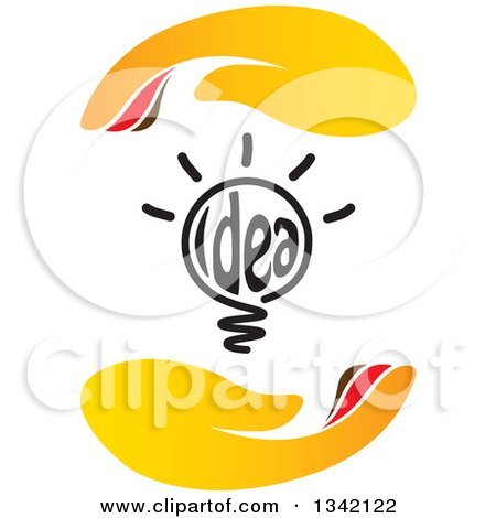 Clipart of a Shining Idea Text Light Bulb Between Hands - Royalty Free Vector Illustration by ColorMagic