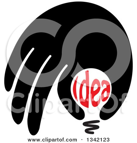 Clipart of a Black Hand over an Idea Text Light Bulb - Royalty Free Vector Illustration by ColorMagic