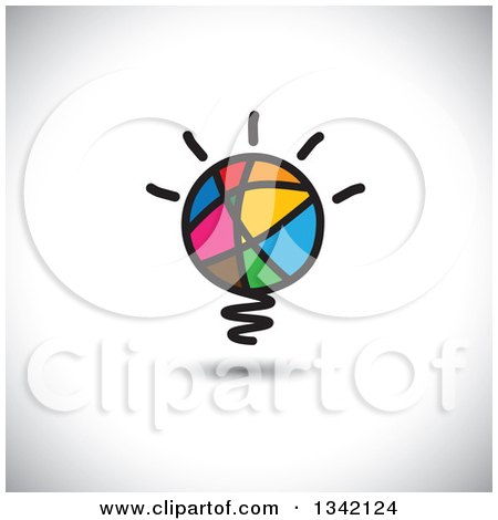 Clipart of a Colorful Abstract Sketched Shining Light Bulb over Shading - Royalty Free Vector Illustration by ColorMagic